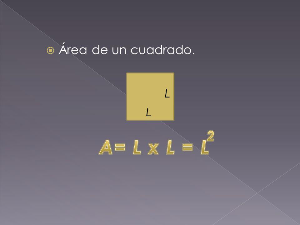 Área de un cuadrado. L L 2 A= L x L = L