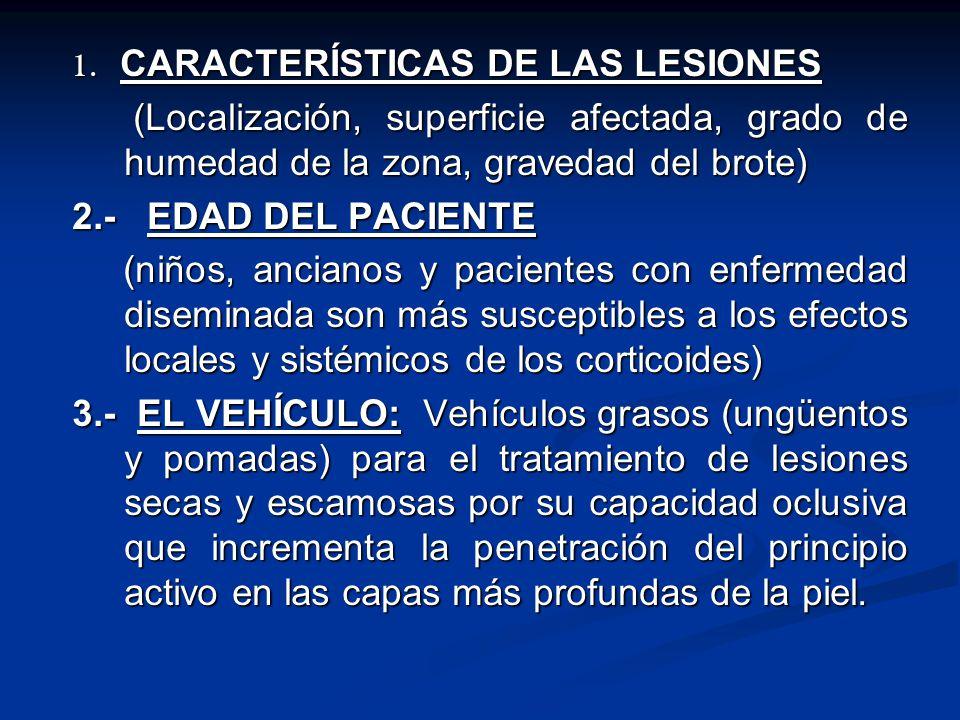 1. CARACTERÍSTICAS DE LAS LESIONES