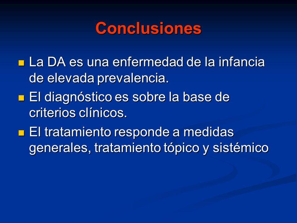 Conclusiones La DA es una enfermedad de la infancia de elevada prevalencia. El diagnóstico es sobre la base de criterios clínicos.