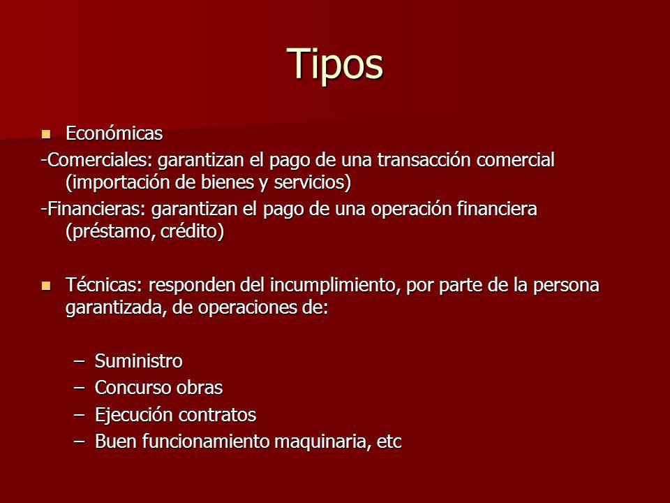 Tipos Económicas. -Comerciales: garantizan el pago de una transacción comercial (importación de bienes y servicios)