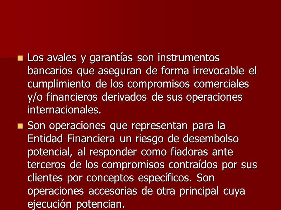 Los avales y garantías son instrumentos bancarios que aseguran de forma irrevocable el cumplimiento de los compromisos comerciales y/o financieros derivados de sus operaciones internacionales.