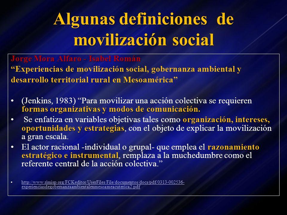 Algunas definiciones de movilización social