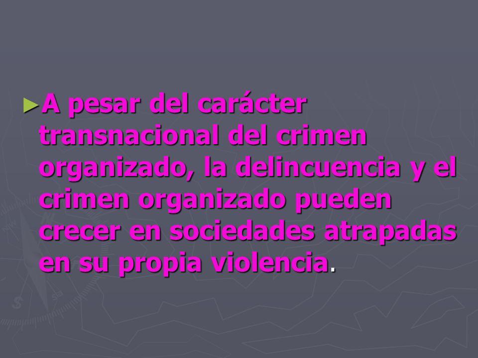 A pesar del carácter transnacional del crimen organizado, la delincuencia y el crimen organizado pueden crecer en sociedades atrapadas en su propia violencia.