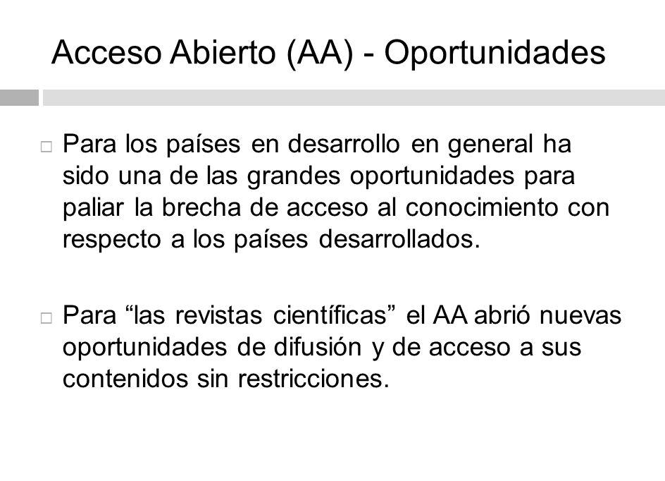 Acceso Abierto (AA) - Oportunidades