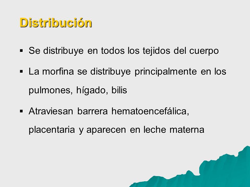 Distribución Se distribuye en todos los tejidos del cuerpo