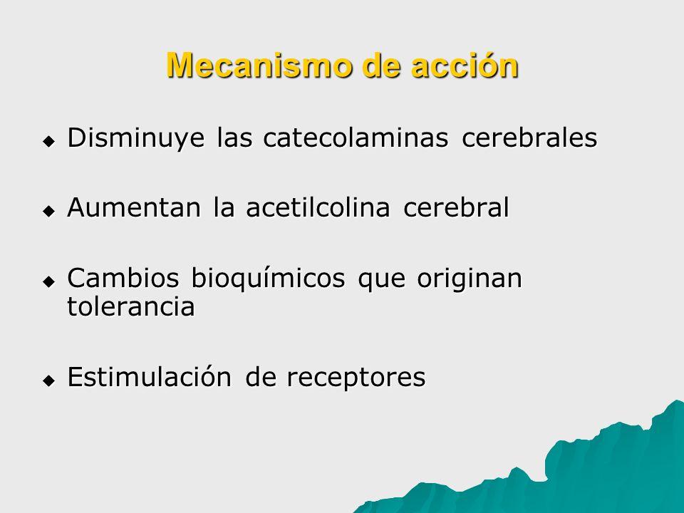 Mecanismo de acción Disminuye las catecolaminas cerebrales