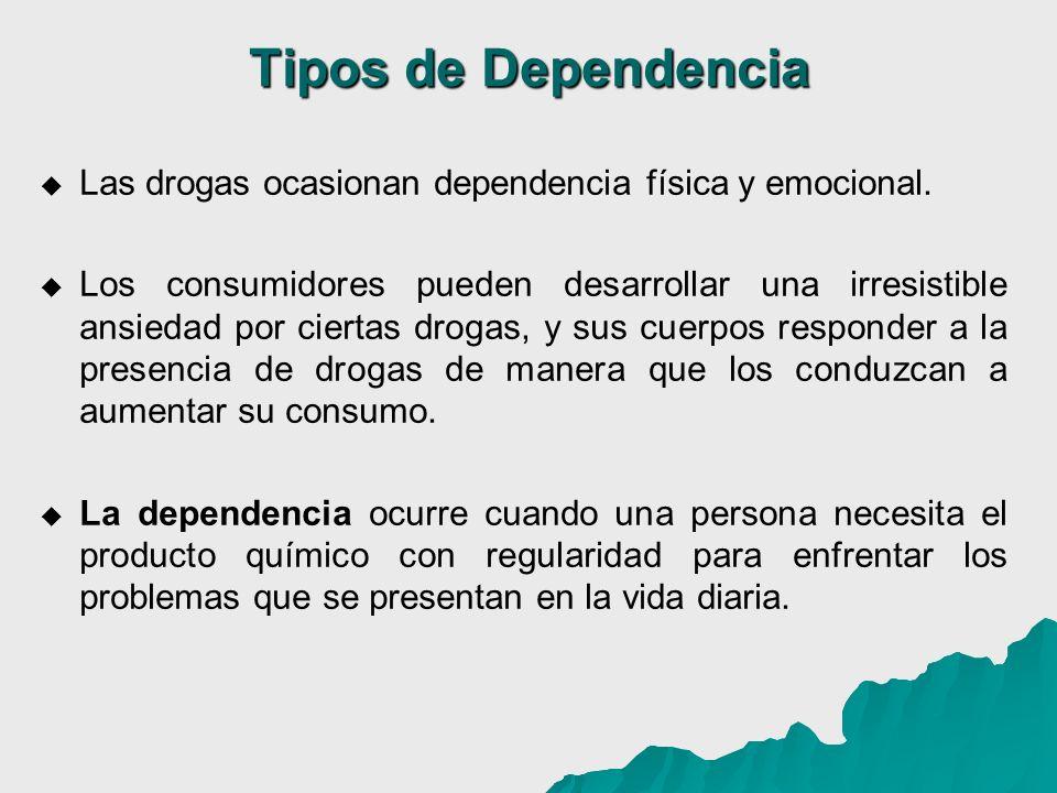 Tipos de Dependencia Las drogas ocasionan dependencia física y emocional.