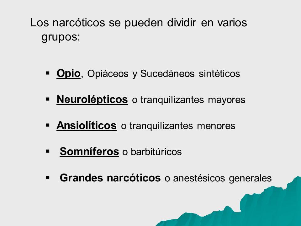 Los narcóticos se pueden dividir en varios grupos: