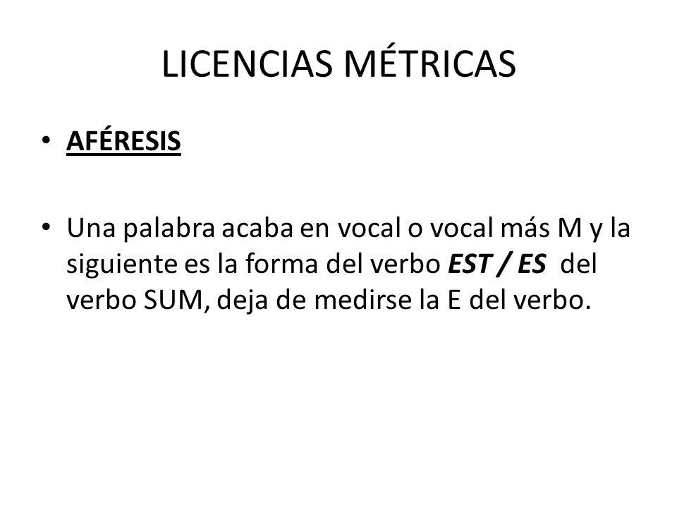 LICENCIAS MÉTRICAS AFÉRESIS