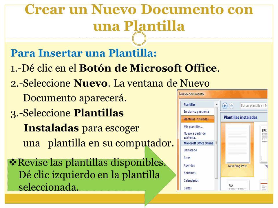 Crear un Nuevo Documento con una Plantilla