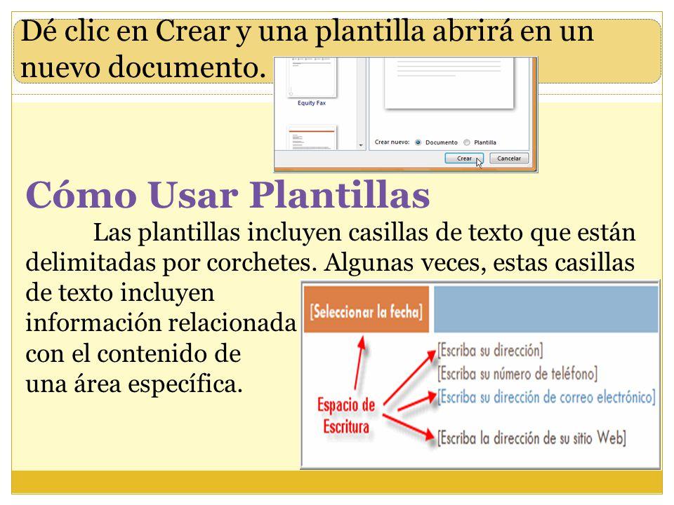 Dé clic en Crear y una plantilla abrirá en un nuevo documento.