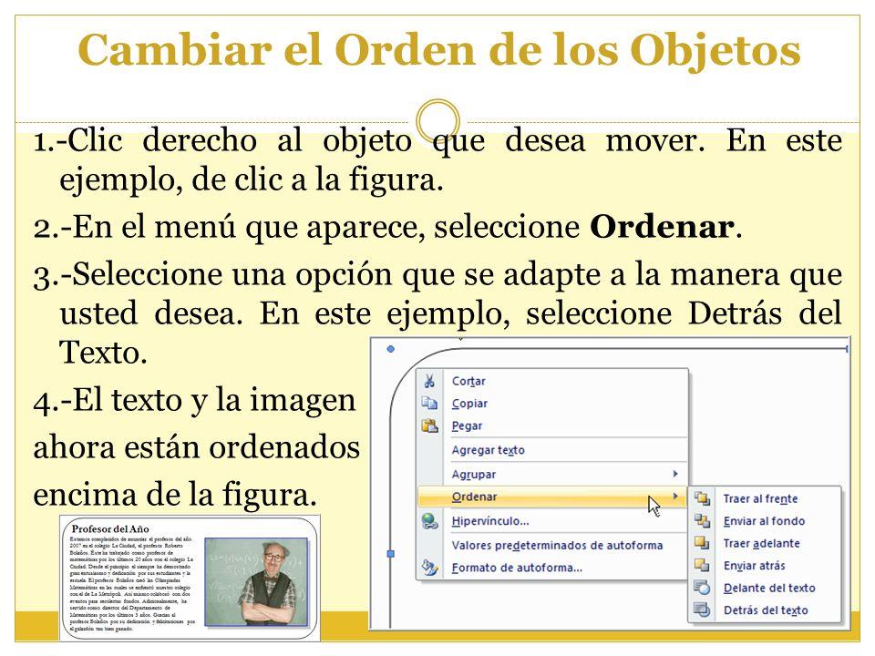 Cambiar el Orden de los Objetos