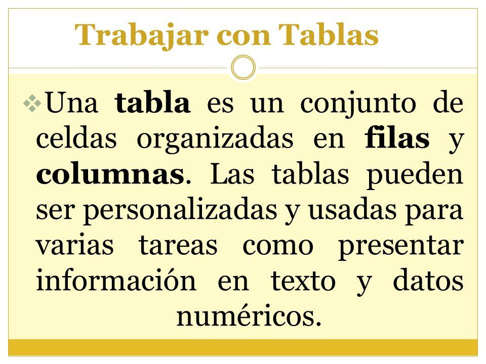 Trabajar con Tablas