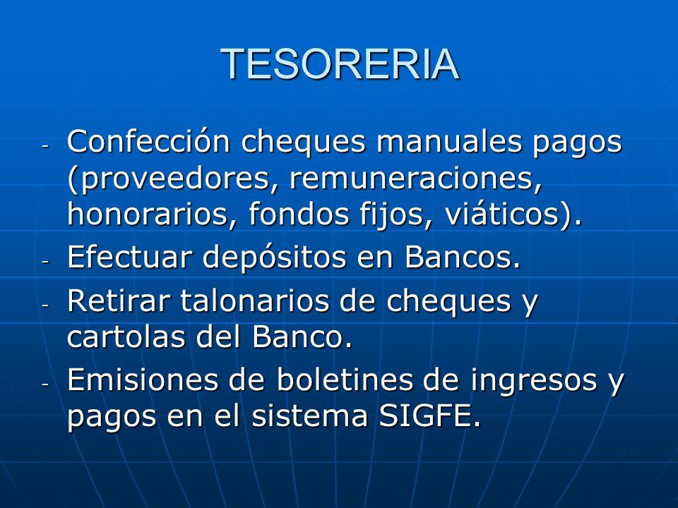 TESORERIA Confección cheques manuales pagos (proveedores, remuneraciones, honorarios, fondos fijos, viáticos).
