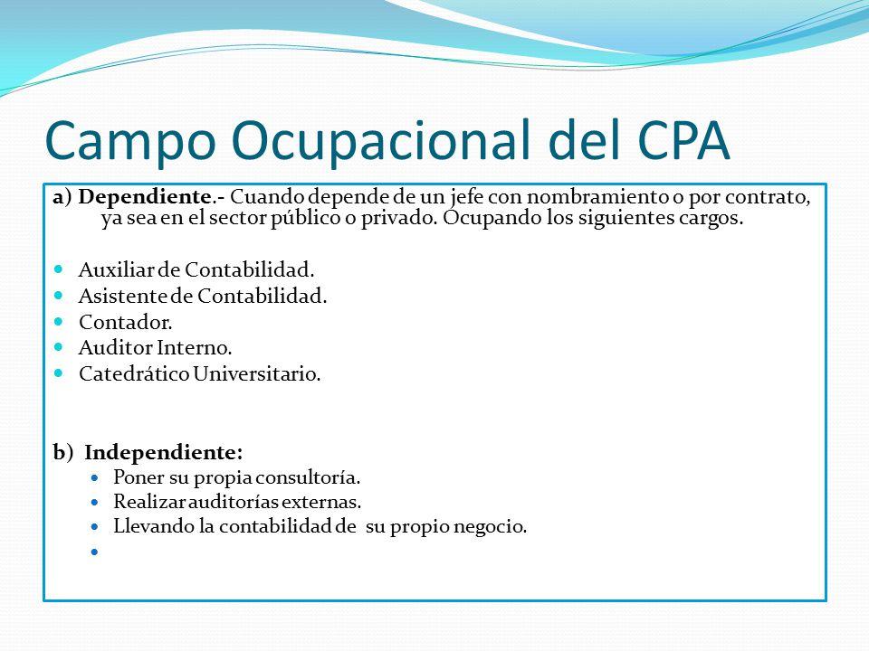 Campo Ocupacional del CPA