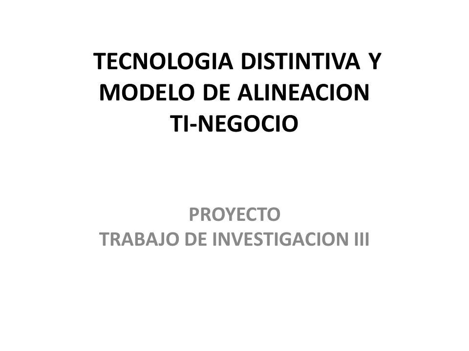 TECNOLOGIA DISTINTIVA Y MODELO DE ALINEACION TI-NEGOCIO