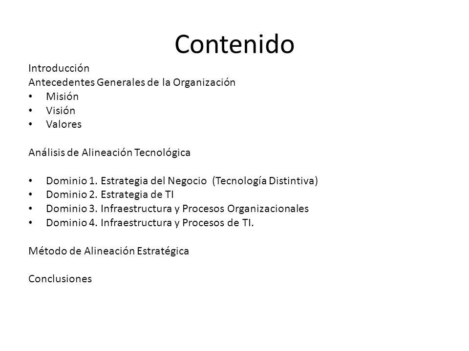 Contenido Introducción Antecedentes Generales de la Organización