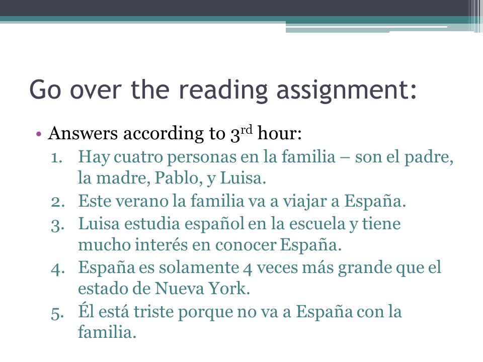 Go over the reading assignment: