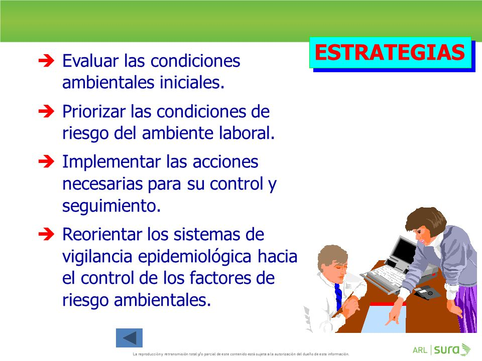 ESTRATEGIAS Evaluar las condiciones ambientales iniciales.
