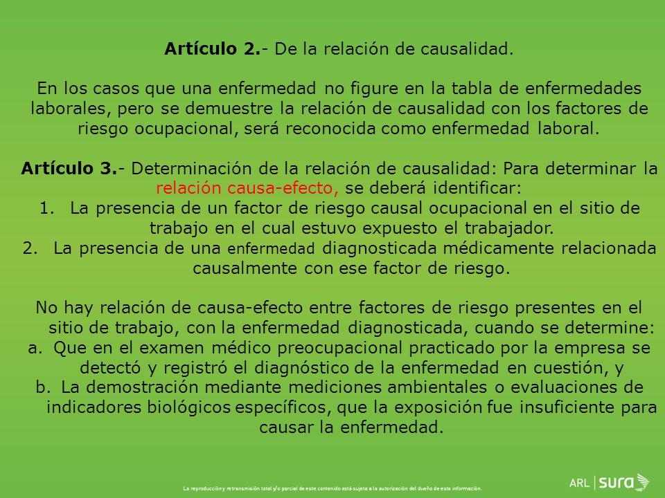 Artículo 2. - De la relación de causalidad