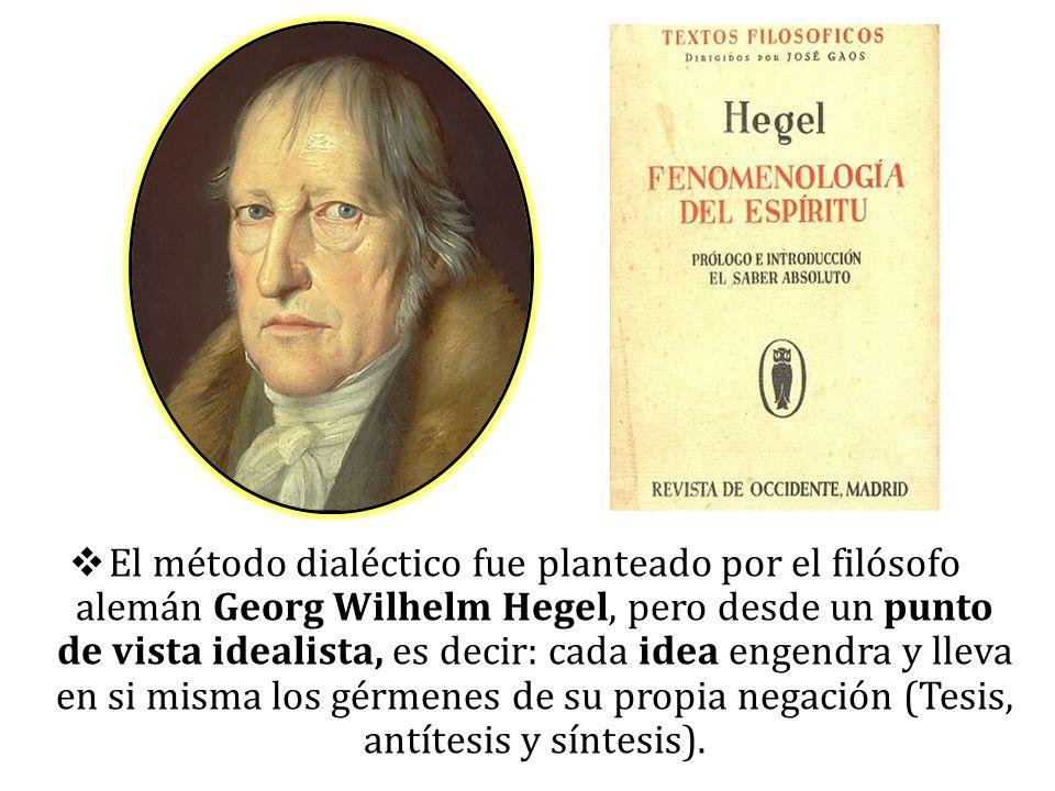 El método dialéctico fue planteado por el filósofo alemán Georg Wilhelm Hegel, pero desde un punto de vista idealista, es decir: cada idea engendra y lleva en si misma los gérmenes de su propia negación (Tesis, antítesis y síntesis).