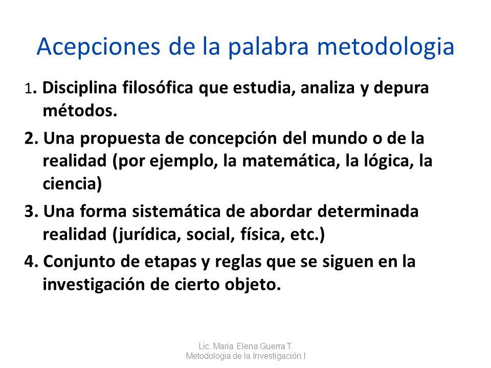 Acepciones de la palabra metodologia