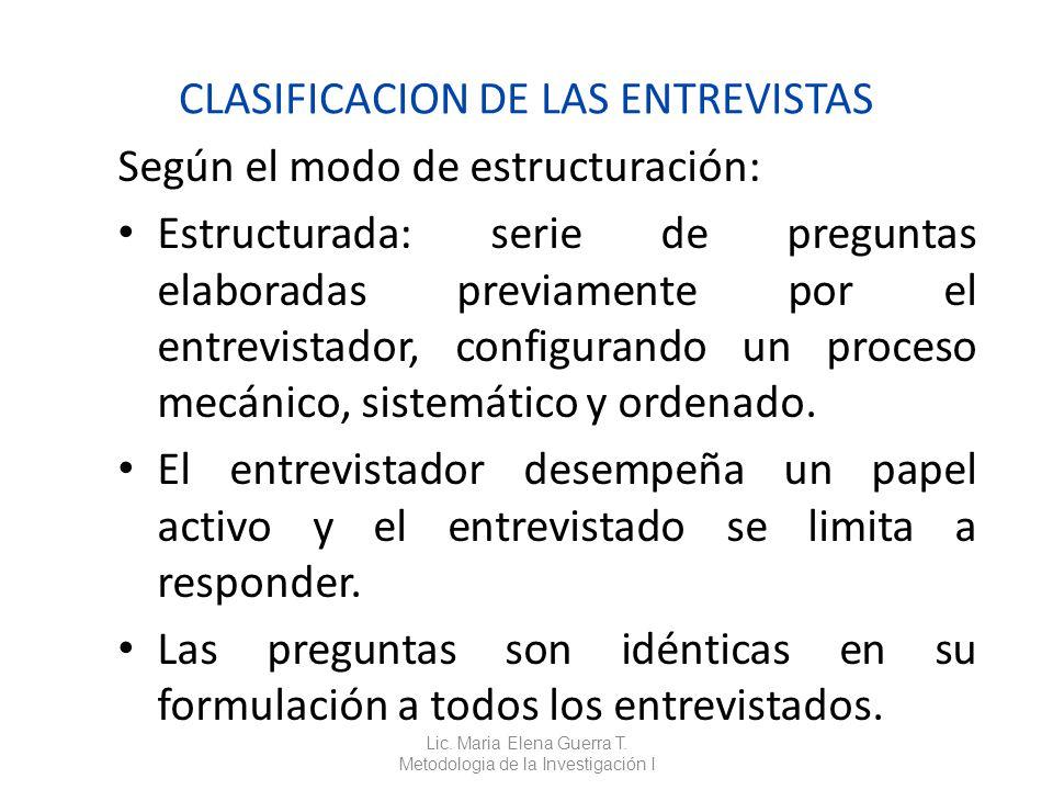 CLASIFICACION DE LAS ENTREVISTAS
