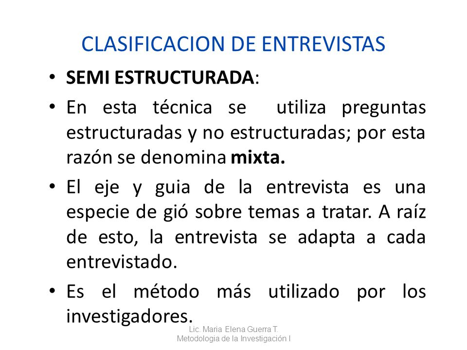 CLASIFICACION DE ENTREVISTAS