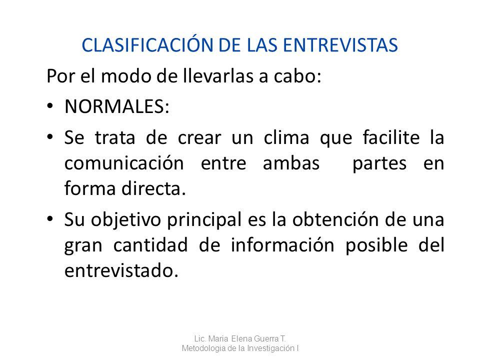 CLASIFICACIÓN DE LAS ENTREVISTAS