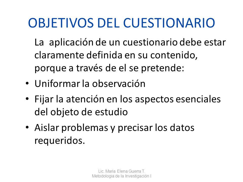 OBJETIVOS DEL CUESTIONARIO