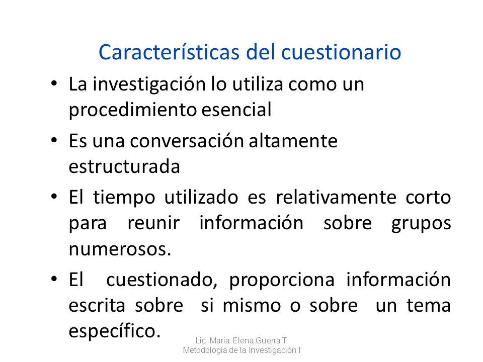 Características del cuestionario