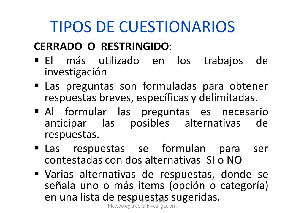 TIPOS DE CUESTIONARIOS