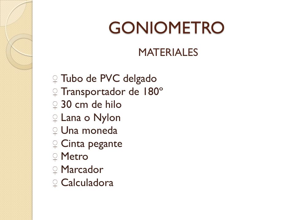 GONIOMETRO MATERIALES Tubo de PVC delgado Transportador de 180º