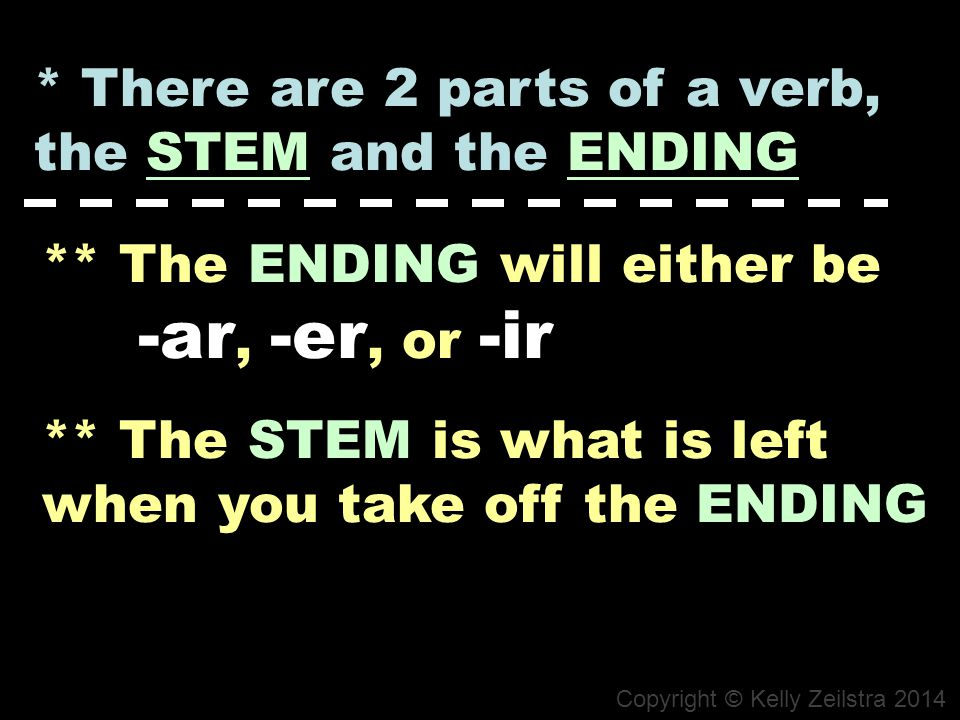 * There are 2 parts of a verb, the STEM and the ENDING