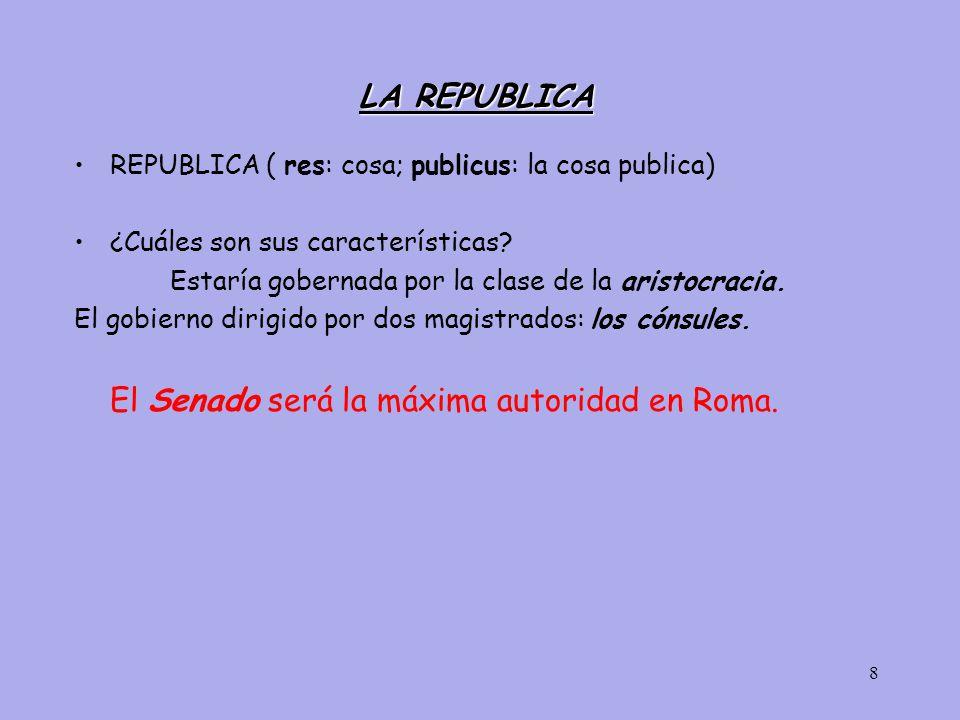 LA REPUBLICA REPUBLICA ( res: cosa; publicus: la cosa publica)