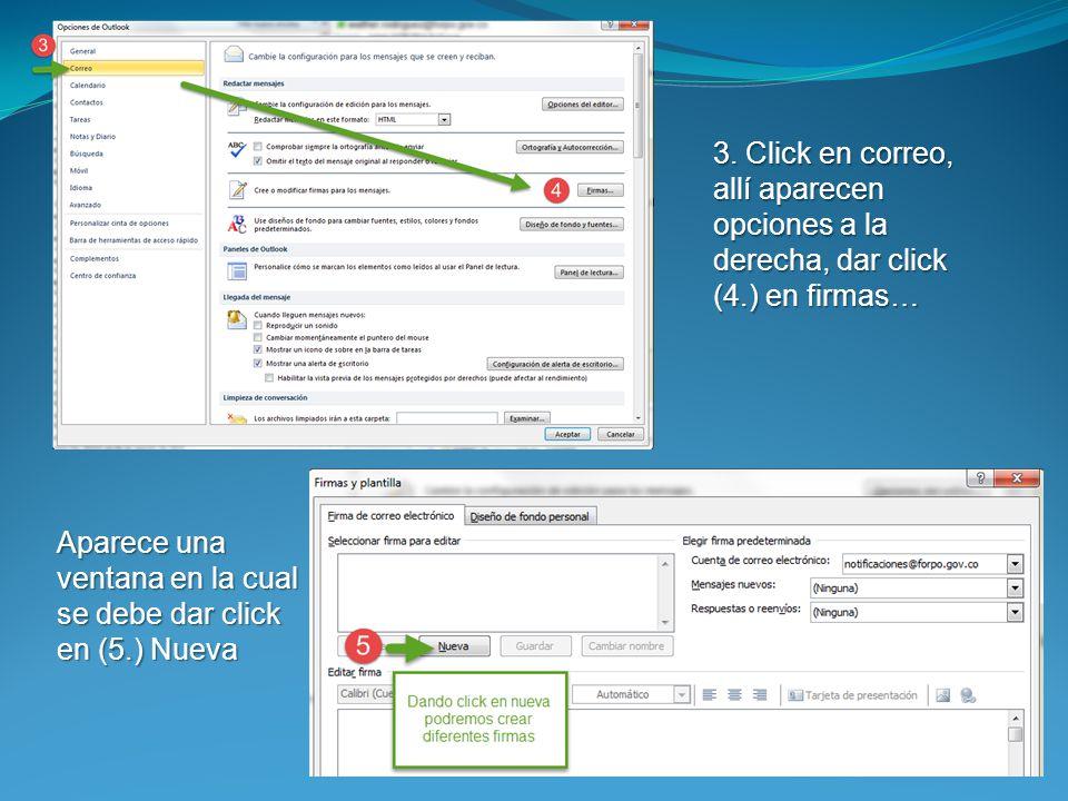 3. Click en correo, allí aparecen opciones a la derecha, dar click (4