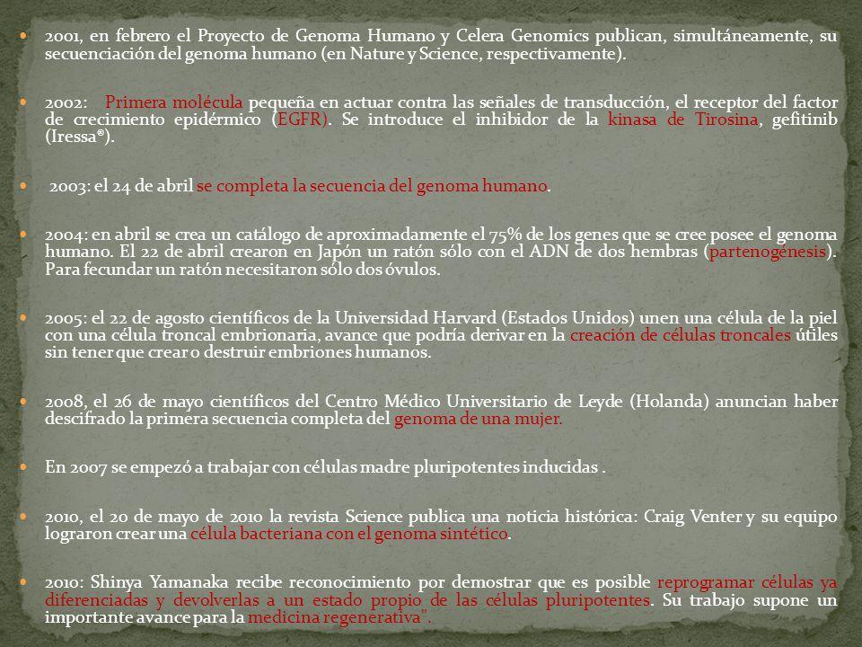 Historia cronologica aportes y evoluci n de la teor a for En 2003 se completo la secuenciacion del humano