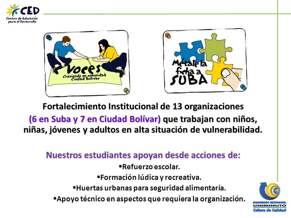 Fortalecimiento Institucional de 13 organizaciones