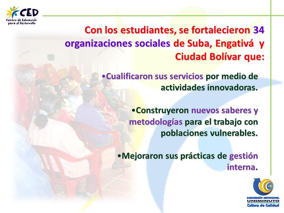 Con los estudiantes, se fortalecieron 34 organizaciones sociales de Suba, Engativá y Ciudad Bolívar que: