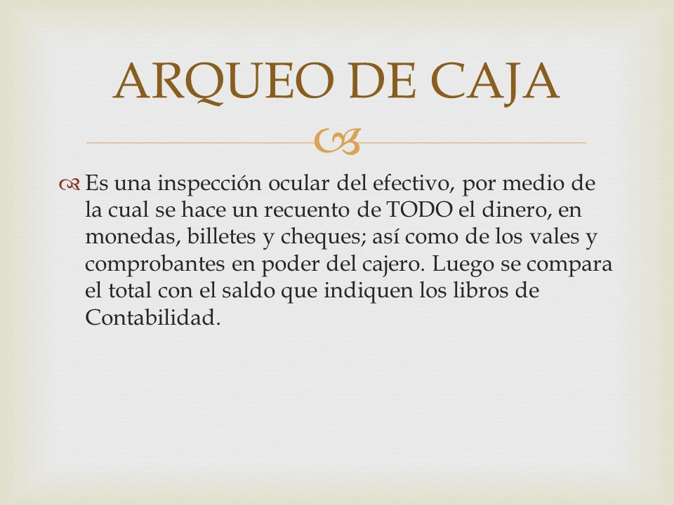 ARQUEO DE CAJA