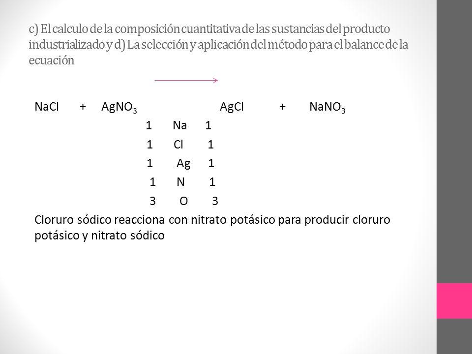 c) El calculo de la composición cuantitativa de las sustancias del producto industrializado y d) La selección y aplicación del método para el balance de la ecuación