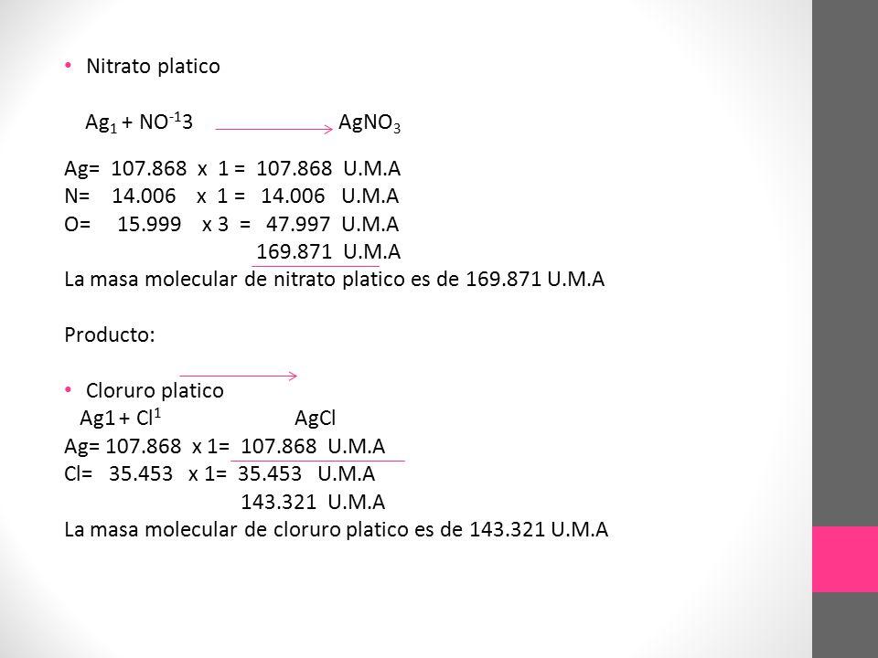 Nitrato platico Ag1 + NO-13 AgNO3. Ag= 107.868 x 1 = 107.868 U.M.A.