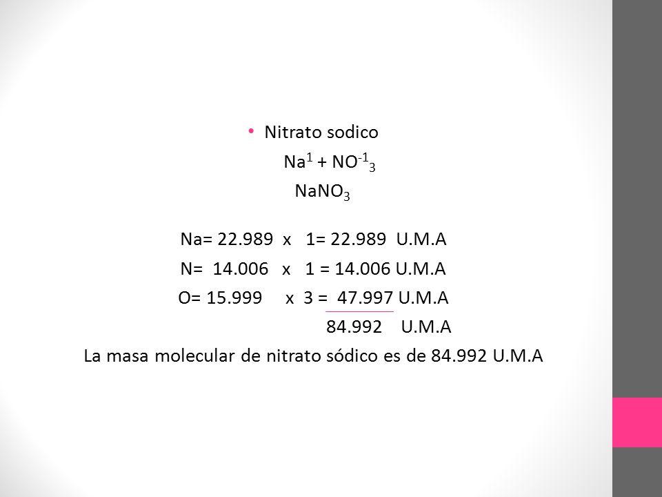 La masa molecular de nitrato sódico es de 84.992 U.M.A