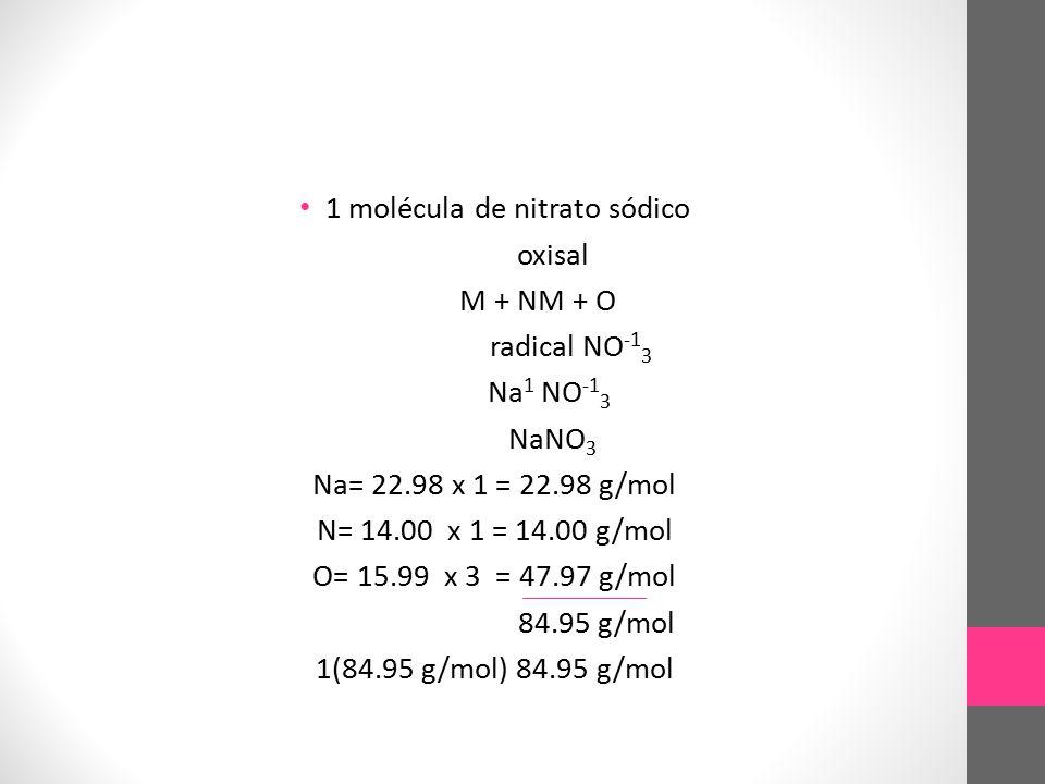 1 molécula de nitrato sódico