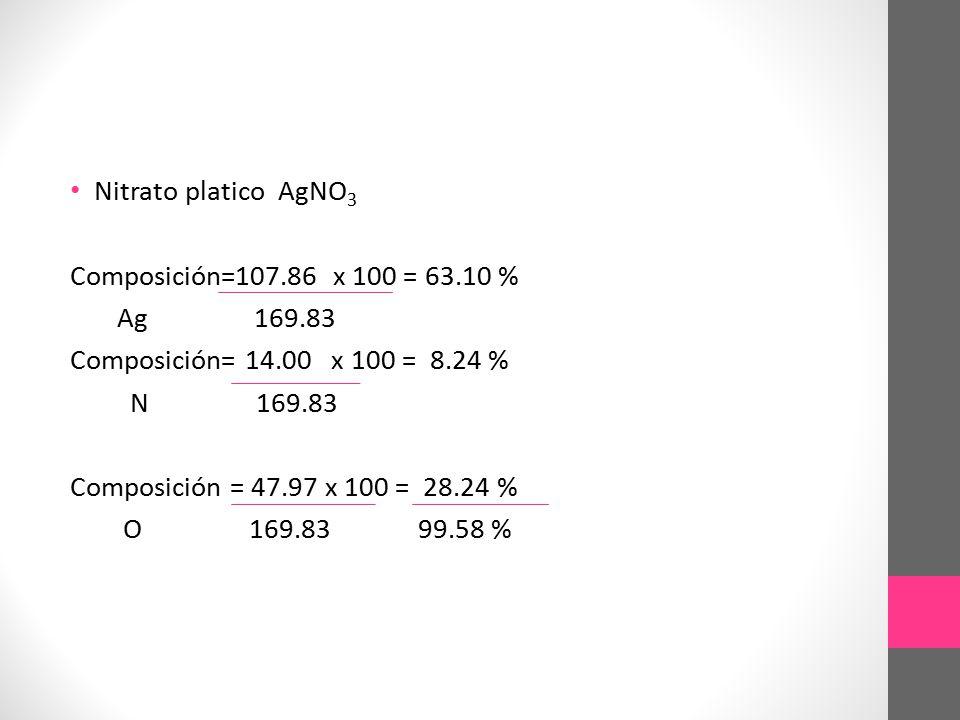 Nitrato platico AgNO3 Composición=107.86 x 100 = 63.10 % Ag 169.83. Composición= 14.00 x 100 = 8.24 %