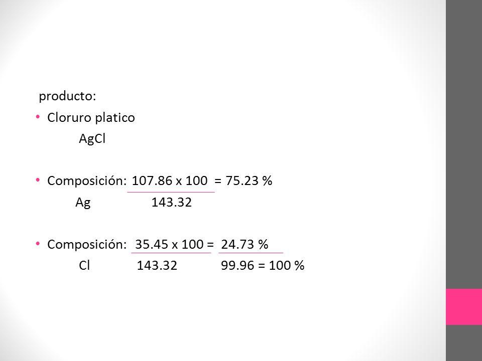 producto: Cloruro platico. AgCl. Composición: 107.86 x 100 = 75.23 % Ag 143.32.