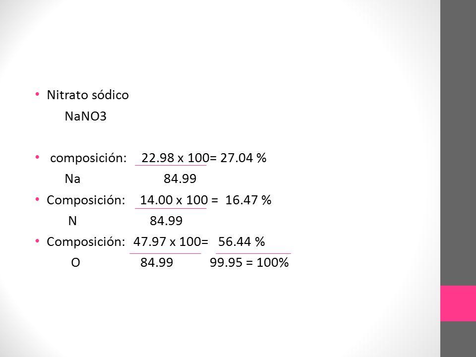 Nitrato sódico NaNO3. composición: 22.98 x 100= 27.04 % Na 84.99. Composición: 14.00 x 100 = 16.47 %