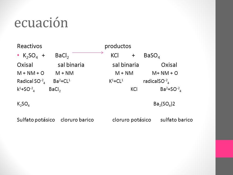 ecuación Reactivos productos K2SO4 + BaCl2 KCl + BaSO4