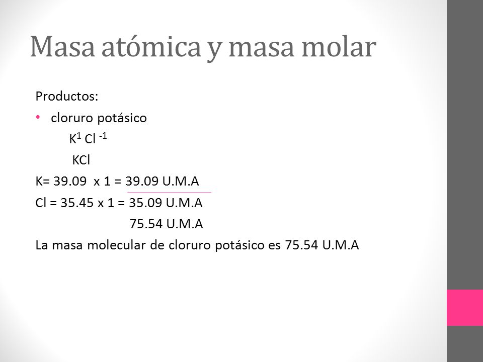 Masa atómica y masa molar