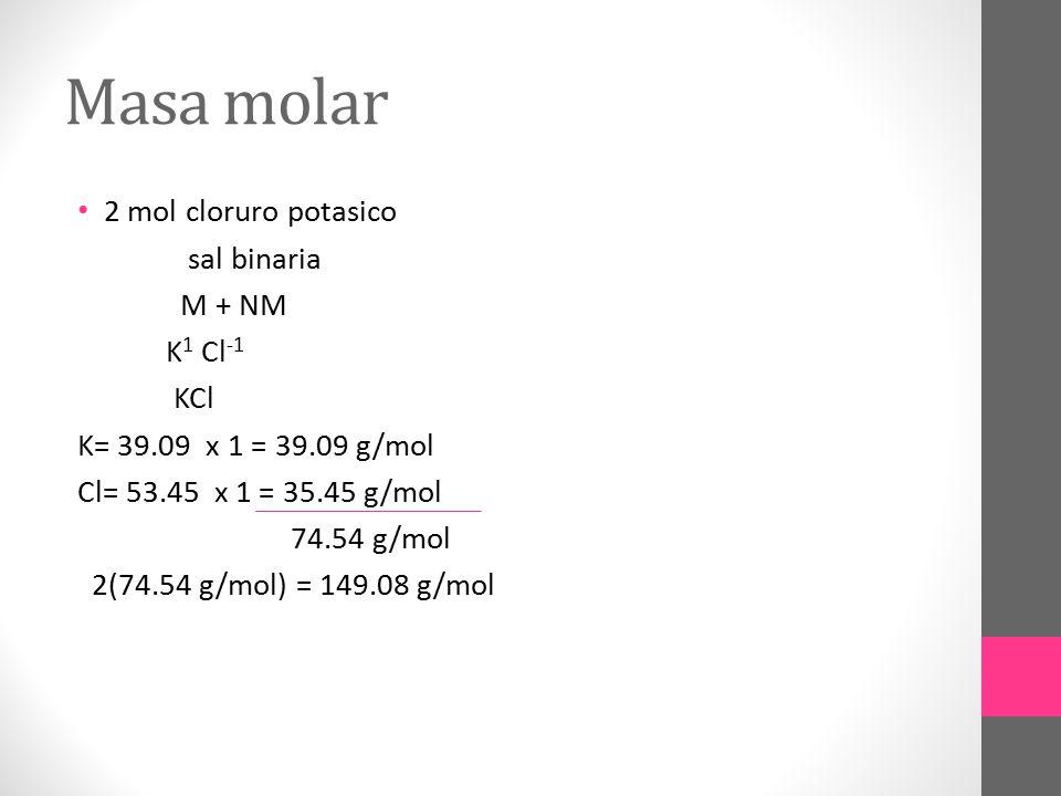 Masa molar 2 mol cloruro potasico sal binaria M + NM K1 Cl-1 KCl